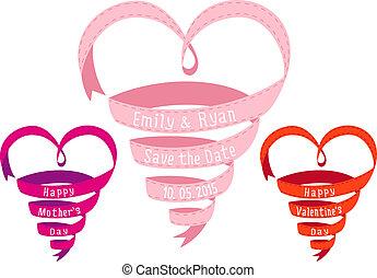 Heart shaped ribbon, vector design