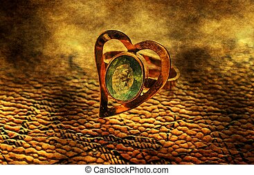 Heart shaped ring grunge concept