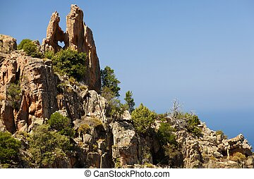heart shaped rock in Piana calanche, Corsica island, France