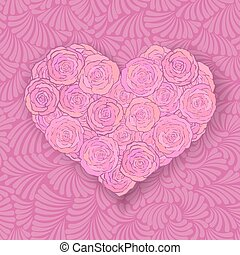 Heart-shaped rose bouquet in soft pink colors