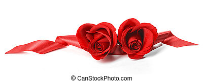 Heart shaped roses - Two heart shaped red roses and ribbons...