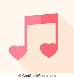 Heart shaped sheet music