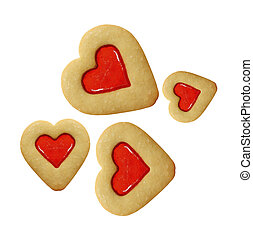 Heart shaped shortbread cookies isolated
