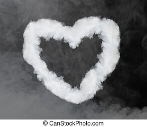 heart shaped smoke isolated on black