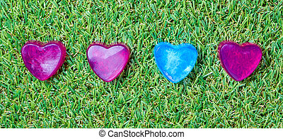 Heart-shaped soap on green grass