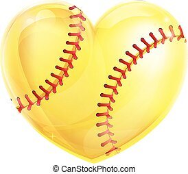 Heart Shaped Softball - A heart shaped yellow softball ball...
