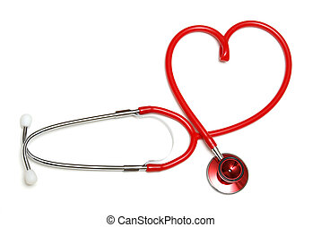Heart Shaped Stethoscope - A red stethoscope forming the...