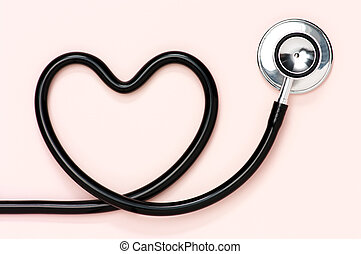 Heart shaped stethoscope. - Stethoscope on pale pink ...