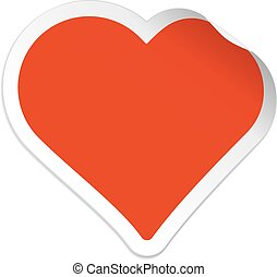 Heart shaped sticker isolated on white background