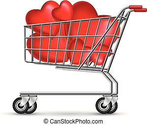 Heart shaped symbol in a shopping cart, isolated on white background.