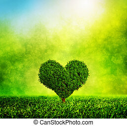 Heart shaped tree growing on green grass. Love, nature,...