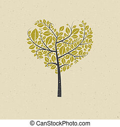 Heart Shaped Tree on Recycled Paper - Abstract Heart Shaped...