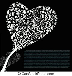 Heart Shaped Tree Silhouette Vector Illustration
