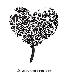 Heart Shaped Tree Silhouette Vector Illustration Isolated on White