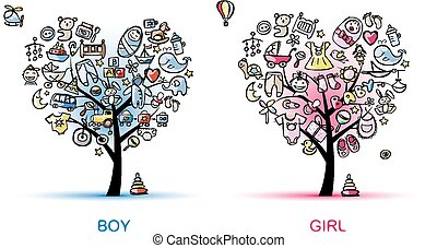 Heart shaped trees design for baby boy and girl