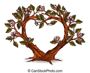Heart shaped trees with flowers illustration