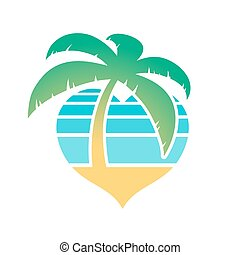 Heart shaped tropical beach and palm tree icon conceptual of...