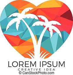 Heart shaped tropical beach and palm tree logo design. -...