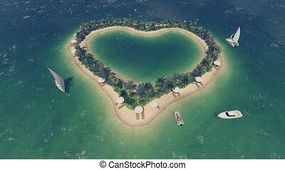 Heart shaped tropical island Aerial