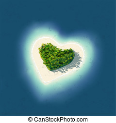 Heart Shaped Tropical Island - Detailed illustration of a...