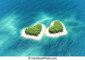 Heart-shaped tropical island in mid-ocean.