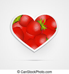 Heart Shaped Vector Red Strawberries