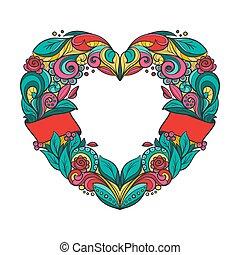 Heart shaped vector wreath