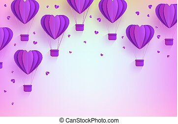 Heart shaped violet hot air balloons in trendy paper art style on pastel gradient background.