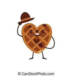 Heart shaped waffle, wafer character raising hat