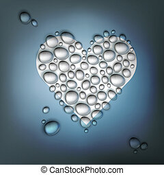 Heart shaped water drops. Abstract Valentines day background...