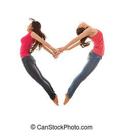 heart shaped women jumping