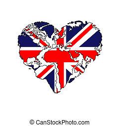 heart-shaped world map UK flag
