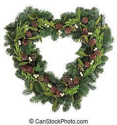Heart Shaped Wreath - Christmas heart shaped wreath with...