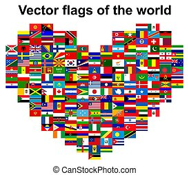 heart-shaped, zászlók, állhatatos