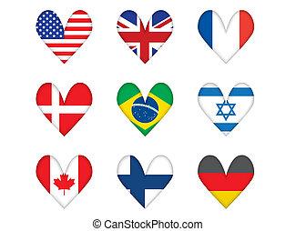 heart-shaped, zászlók