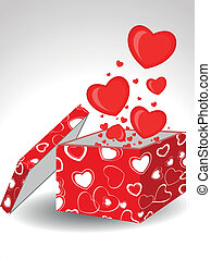 Heart shapes coming out form open gift box decorated with abstract heart shape cover in red color on isolated background for Valentines Day.