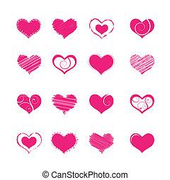 heart shapes - set of heart shape elements, vector...