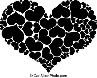 Heart shapes forming big heart isolated on white background.
