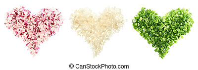 Heart shapes made of cut vegetables - Heart shapes made of...