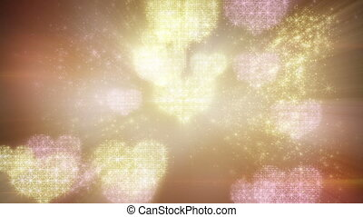 heart shapes of fairy dust loopable background