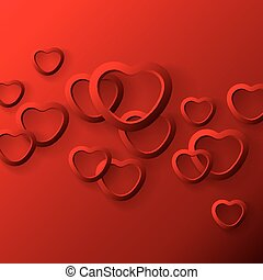 Heart shapes on red background.