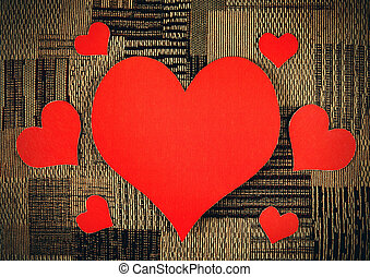 Heart Shapes on the Fabric Background