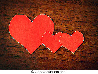Heart Shapes on the Wooden Background