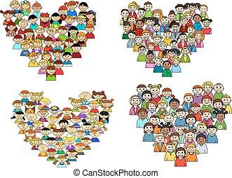Heart shapes with cartoon kids