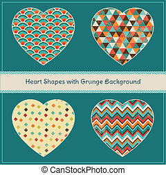 Heart Shapes with Geometric Grunge Background