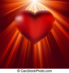 Heart shining with light of love. EPS 8