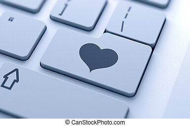 Heart sign - 3d illustration of heart sign button on...