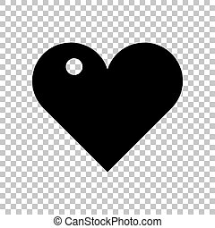 Heart sign. Black icon on transparent background. Illustration.
