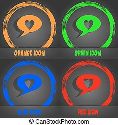 Heart sign icon. Love symbol. Fashionable modern style. In the orange, green, blue, red design. Vector