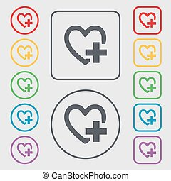 Heart sign icon. Love symbol. Symbols on the Round and square buttons with frame. Vector
